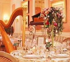 A harp at a wedding